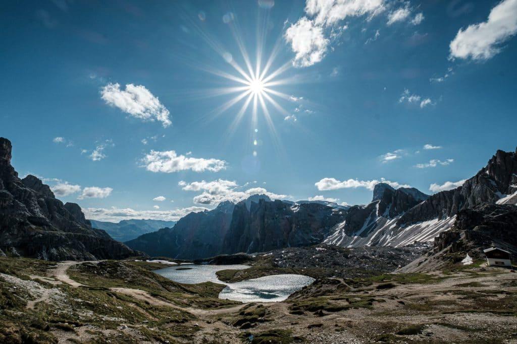 Blick von der Dreizinnenhütte Richtung Sexten.
